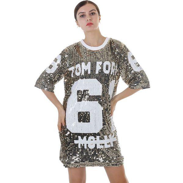 New Summer Women's Costumes Dance Wear Hip Hop Street Dance Dress Sequins Medium Long Round Neck Short Sleeve T-Shirt