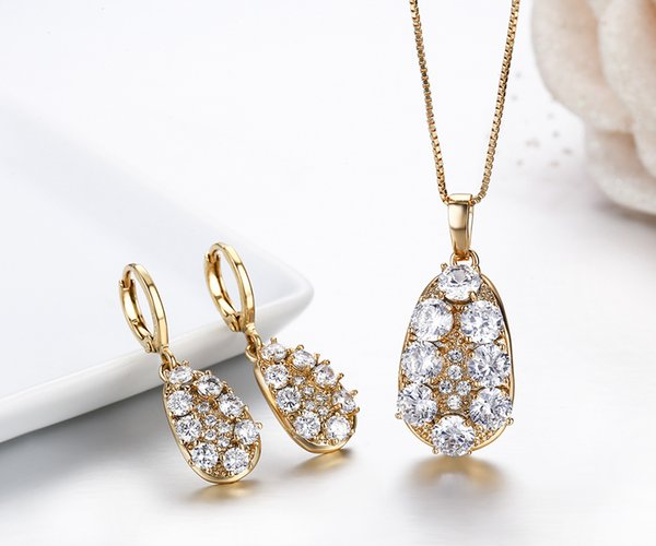Cluster Round White CZ Water Drop Dangle Earrings & Pendant Necklace Women Yellow Gold Color Wedding Jewelry Sets Box Chain 45cm