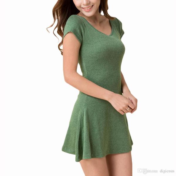 S5Q Women Summer Short Sleeve T-SHIRT Sundress Pure Cotton Casual Mini Dresses AAAENN free drop shipping China clothing factory
