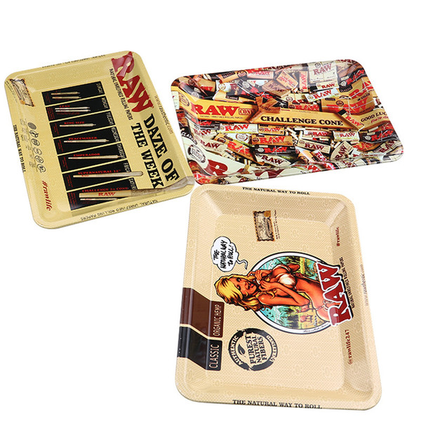 3Styles RAW Rolling Tray Metal Tobacco 180x125mm Handroller Roll Tin Sexy Girl Lady Woman Case Spice Plate Cigarette Storage Smoking