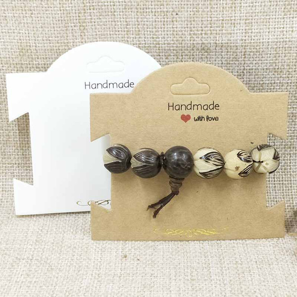 500PCS New Kraft/White Chock Necklace Card Bracelet/Hair Band Card Handmade With Love Hair Clip Card 10x8cm