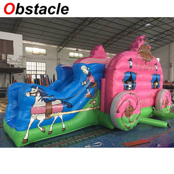 6mL*4mW Princess carriage style inflatable jumping castle bouncer house with slide combo inflatable moonwalk slider combination for sale