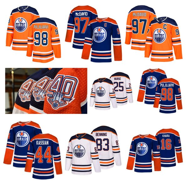 free shipping 31f49 c34c8 2019 NHL Edmonton Oilers Jersey 40Th Patch 97 Connor McDavid 99 Wayne  Gretzky 98 Jesse Puljujarvi 16 Jujhar Khaira Larsson Stitched Hockey Jersey  From ...