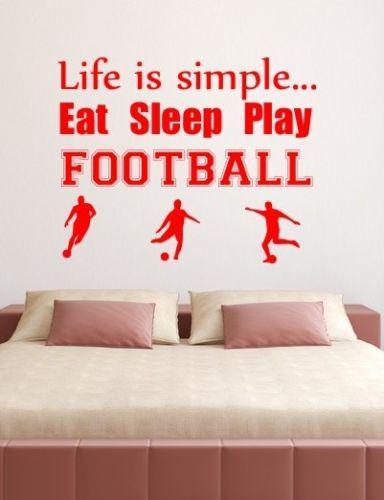 Sport Life Is Simple To Play Soccer Wall Quote Vinyl Art Sticker Stencil Graphic Decoración para el hogar Mural