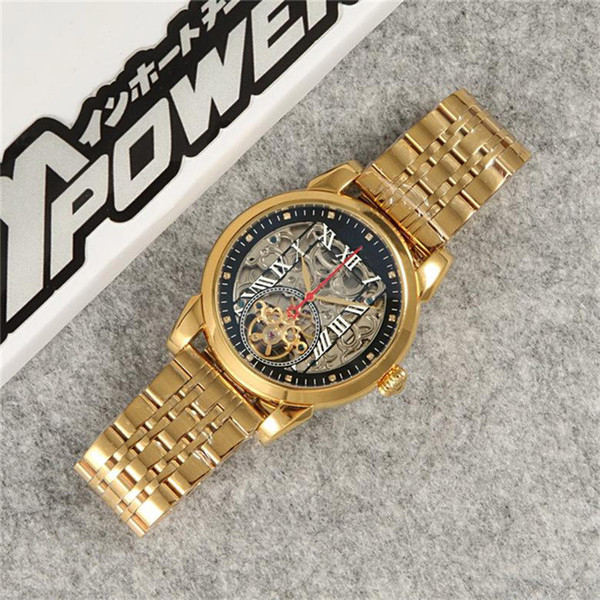 automatic skeleton watch man luxury mens designer watches gold silver 316 steel mechanical movement wristwatches montre de luxe