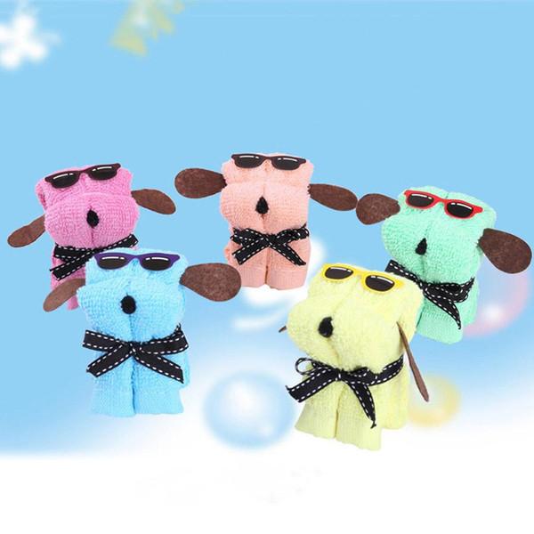 Regalo di promozione Festival Regalo di nozze Asciugamano di cotone a forma di cane Asciugamano di cartone animato Asciugamano in microfibra di colore 30 * 30 cm con scatola di PVC BH0928-1 TQQ