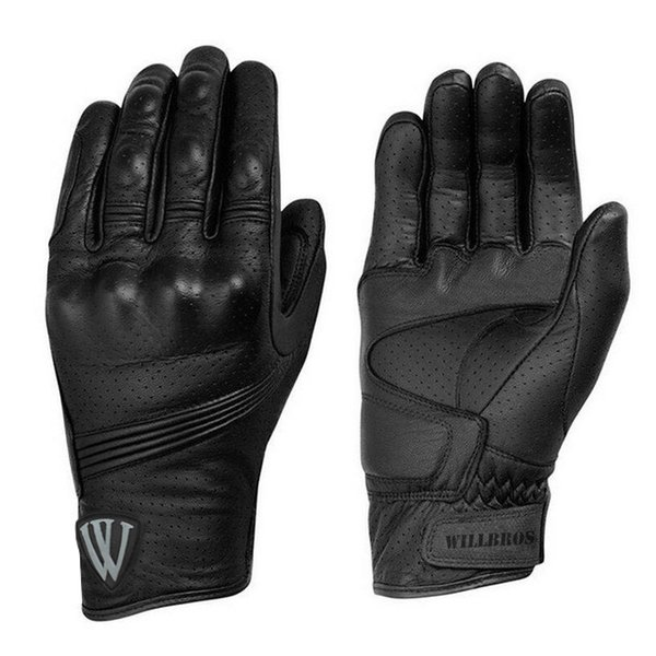 Willbros 2018 New Leather Black Racing Riding Gloves Short Gloves Motorcycle Downhill Motor GP