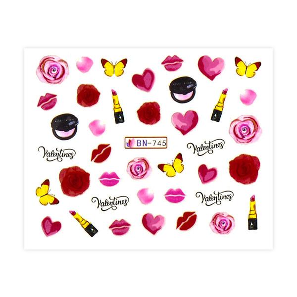CONOCER A TRAVÉS 12 Diseños Etiqueta Engomada Del Arte Del Clavo Diseño de Transferencia de Agua de San Valentín Mezcla Rosa Corazón Carta de Amor Para Las Uñas Tatuaje herramienta