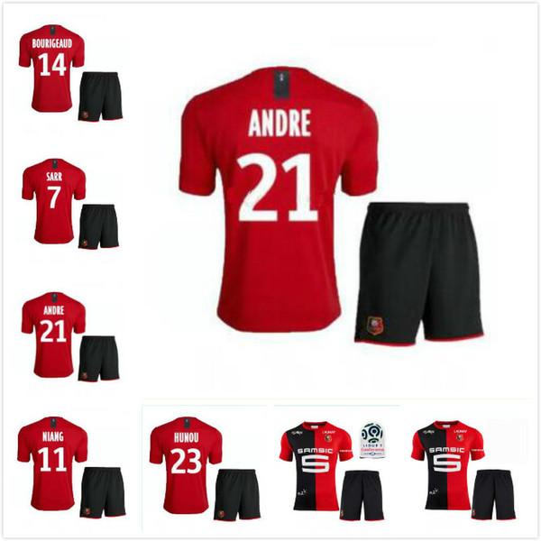 19 20 Stade Rennais Soccer Jersey Short Home Soccer Kit 2019 2020 Rennes Maillot De Foot SARR NIANG BOURIGEAUD ANDRE HUNOU Football Sets