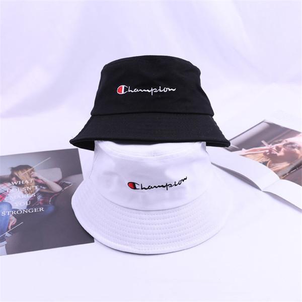2019 Champions Bucket Hat Letters Print Fisherman Hats Women Men Bowler Bucket Summer Outdoor Beach Suns Visor Casual Hip Hop Caps C41105