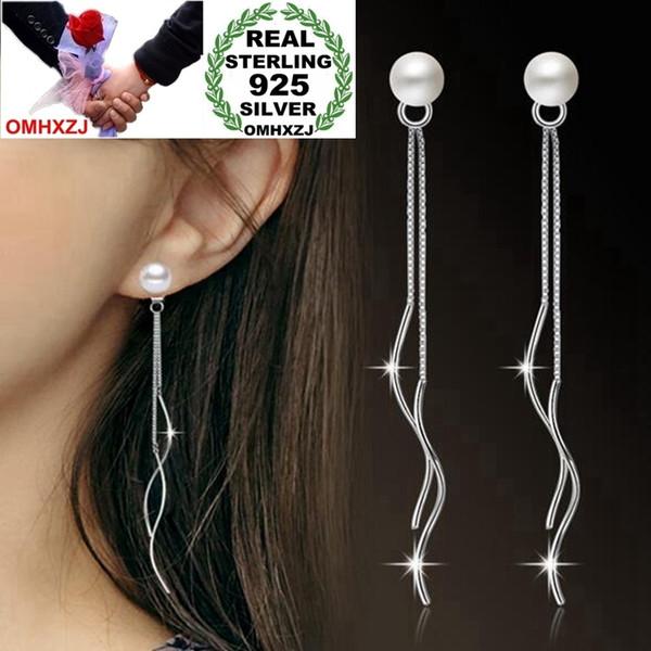 OMHXZJ Wholesale Jewelry Simple Fashion Elegant star for Woman Gift Pearl 925 Sterling Silver Long Tassel Stud Earrings YS251