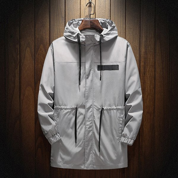 Autumn Men's windbreaker Coat Jackets Casual Mid-Length Printing Hooded Sport Outdoor Thin Mens Outwear Jackets Coat For Male