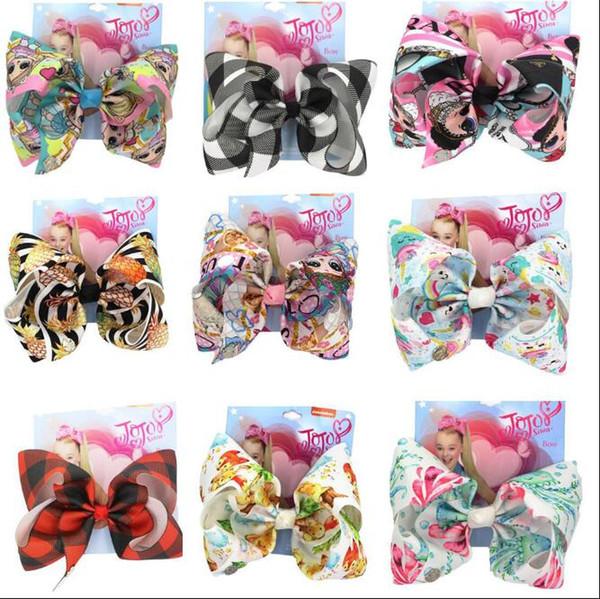8 pouces Jojo Bow pour les filles Jojo Siwa grande arcs de cheveux de licorne pour les filles avec des clips Bowknot Handmade fille accessoire de cheveux 10pcs