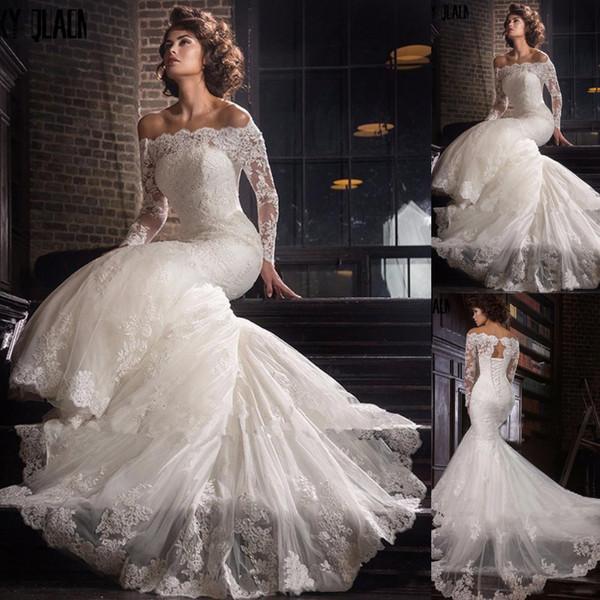 Modest Lace Mermaid Wedding Dresses 2019 Long Sleeves Off Shoulder Bateau Neck Appliqued Arabic Dubai Wedding Dress Bridal Gowns Custom Made