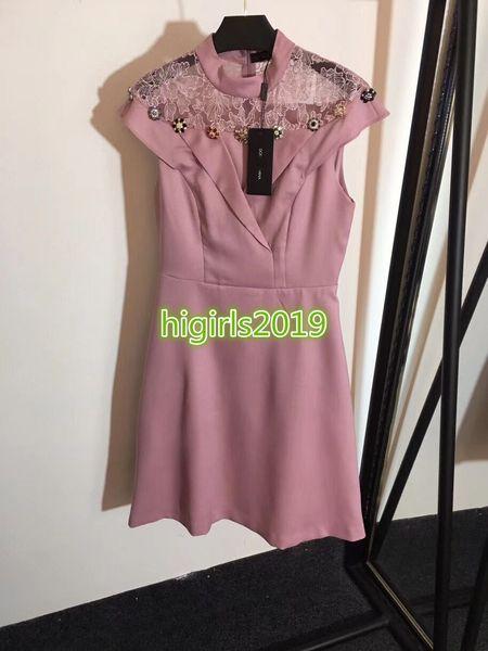 women girls shirt dress embroidery mesh crystal button crew neck short sleeve mini a-line midi skirts vintage high-end custom runway dresses