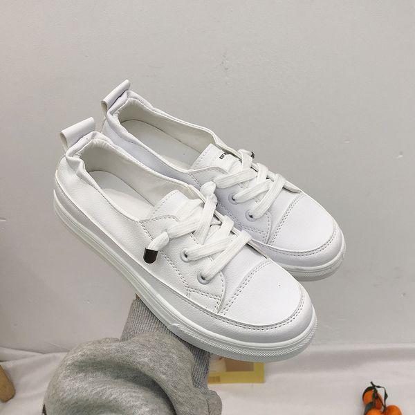 Mulheres Femininas Senhoras Menina Estudante PU de Couro Branco Sapatos Flats Lace Up Macio Sapatos Vulcanizados Coreano 35-40