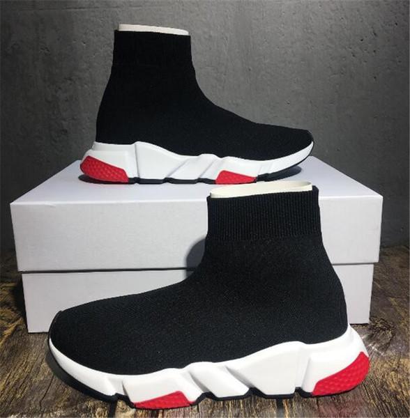 2018 Luxus Designer Schuhe Speed Trainer Schwarz Rot Triple Black Flat Fashion Socken Stiefel Sneaker Speed Trainer Schuhe 35-45