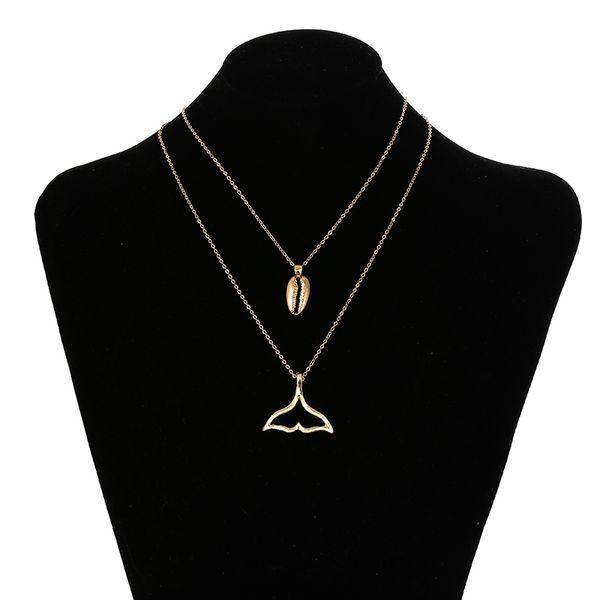 Moda bohemia hembra aleación de metal hueco forma de cola de pez collares de concha colgante mujer oro plata collar de cadena larga en capas