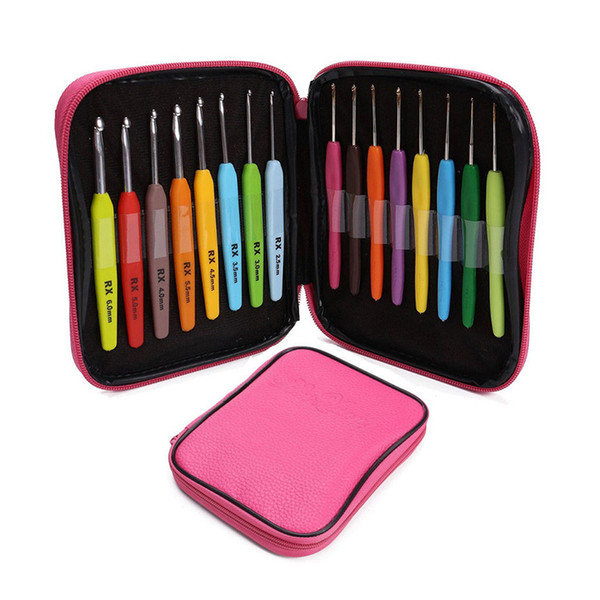 16pcs Multi Colour Crochet Hook Yarn Alu Knitting Set Kit with Box Hand Sewing Tools