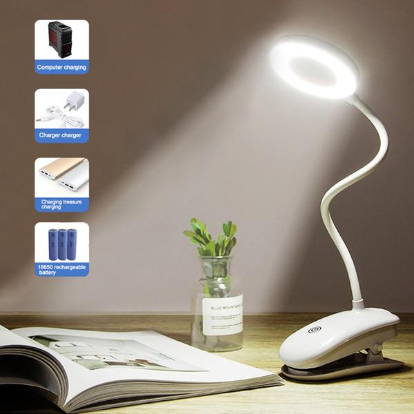 Clipe de mesa sem fio Estudo Lamp 3 modos de toque 1200mAh LED recarregável leitura Desk Lamp 7000K USB Mesa de Luz Flexo Lâmpadas de mesa