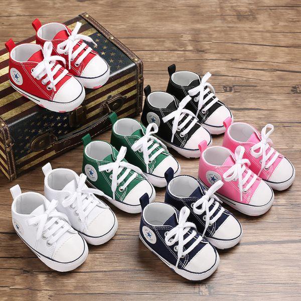 Bebek Ayakkabıları Çocuk Kanvas Ayakkabılar Toddler Ilk Yürüteç Ayakkabı Yenidoğan Prewalker Dantel-up Yürüyüşe Kız Yumuşak Sole kaymaz Rahat Ayakkabı YFA802