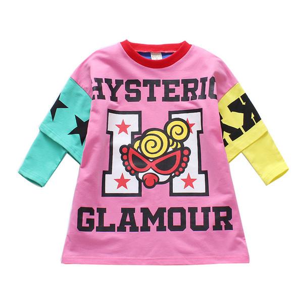 Long Sleeve T-shirt For Girls Kids Clothes Baby Girls Cartoon Print Hip Hop Boys T Shirts Casual Tops Tees Children's