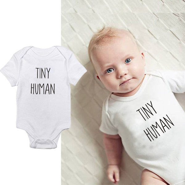 DERMSPE 2019 New Cute Baby Kleidung Sommer Neugeborenen Kinder Baby Boy Girl Ting Human Bodysuit Overall Kleidung Outfits 0-24 Mt Weiß