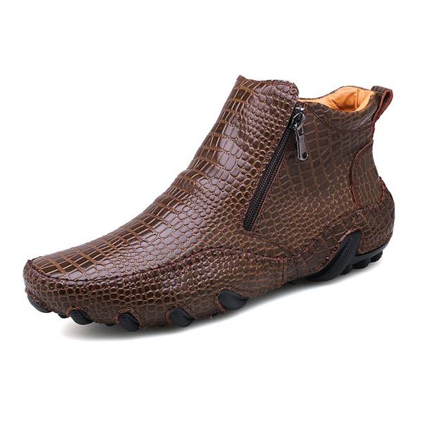 남성 부츠 2019 년 겨울 새로운 영국 스타일 패션 부팅 신발 남성 캐주얼 부츠 슬립 온 디자인 발목에