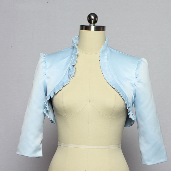 Sky Blue Stain Wedding Secret Wedding bolero jacket 3 / 4 Sleeve Cape Corrugated Bolero Shawl Woman Chest Wedding Accessories