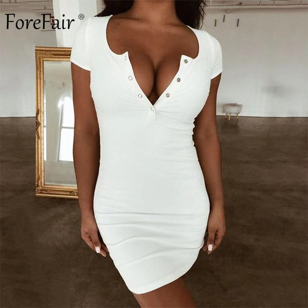 Forefair Mini Summer Dress Sexy Button Short Sleeve Short Red Black Yellow White Party Club Wrap Bodycon Dress Women 2019