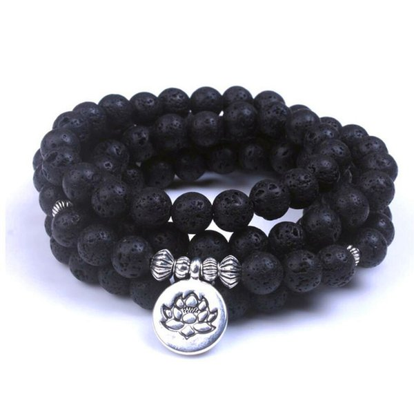 Natural Lava Rock Stone Healing 108 Buddhist Prayer Beads Mala Men Women Bracelet Essential Yoga Jewelry dropshipping