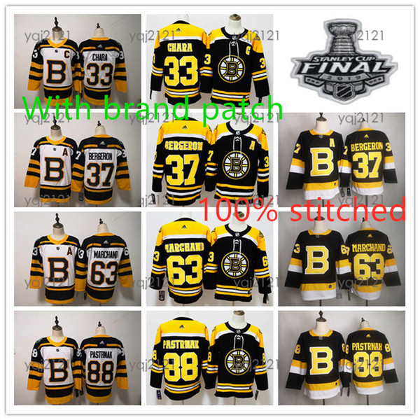 Stanley cup patch bo ton bruin brand embroidery 33 zdeno chara 63 marchand 37 patrice bergeron 88 david pa trnak hockey jer ey 00, Black;red