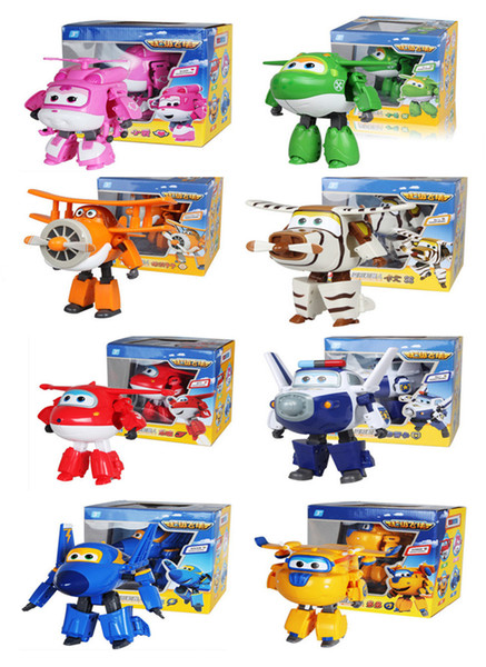 8pcs/lot(8 kinds style) Big size super Wings Deformation Airplane Robot Action Figures toys model Kids baby gift
