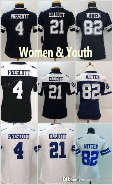 new style 874d8 0ab8d 2019 Women Youth 4 Dak Prescott Jersey Dallas 21 Ezekiel Elliott 82 Jason  Witte Cowboys Football Jerseys White Navy From Movie_jersey, $18.28 | ...