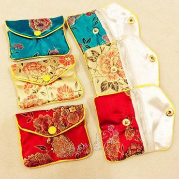 꽃 미니 지퍼 동전 지갑 빨간 가방 중국어 실크 브로케이드 쥬얼리 파우치 선물 가방 100PCS / 많은 여성 동전 주머니 도매 6 × 8 cm을 8x10 cm