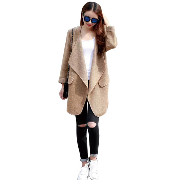 Tanming Womens Winter Casual Lapel Wool Blend Pea Coat Trench Coat coats for women coats jackets