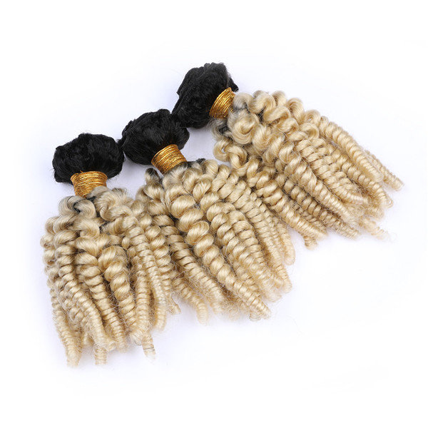 Blonde Ombre Virgin Peruvian Sprial Curly Human Hair Bundles 3Pcs Lot Aunty Funmi #1B/613 Dark Root Ombre Human hair Weaves Double Weft