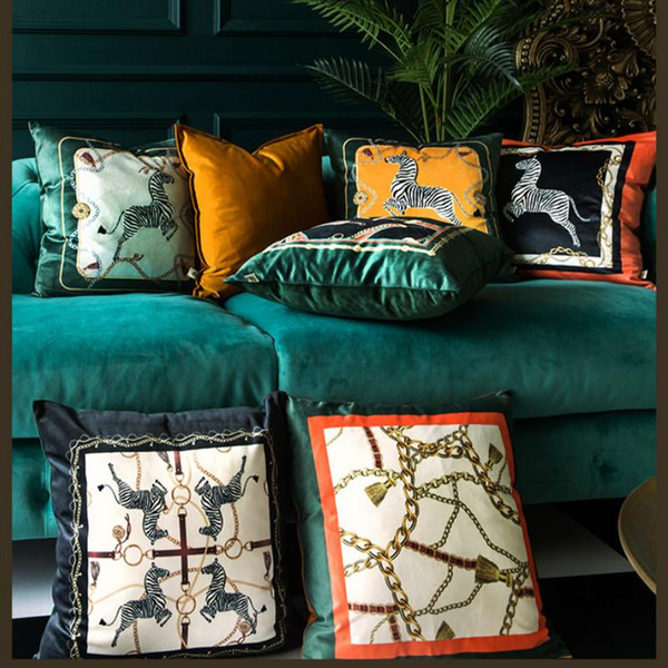 Cojín almohada decorativa Caso Animal Collection moderna de lujo estampado de zebra de terciopelo suave Coussin Sofá Silla Decoración