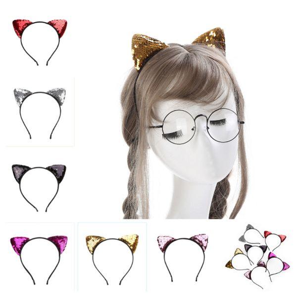 Glitter Can flip Paillettes Cat Ear Girl Hairband Hairband per capelli per le ragazze Donne Cat Ear Hair Bands Halloween copricapo Regali