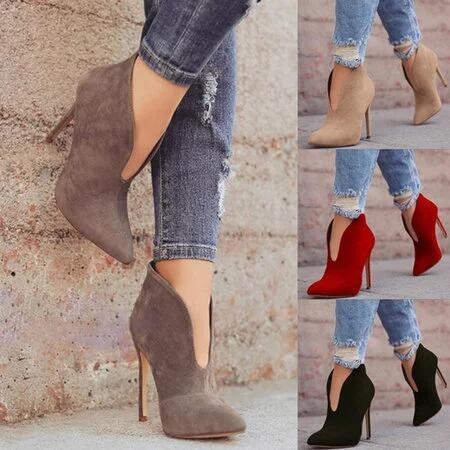 Clearance Sale Women's High Heel Boots V-style Pointed-toe Casual Winter Party Booties X-mas Club Fashion Evening Ankle Boots Shoes M001