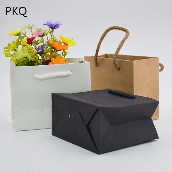 New Arrival Gift Bag with Handles White Black Pink Kraft Paper Bag Wedding Party Wrapping Supply Large Shopping Favor 10pcs