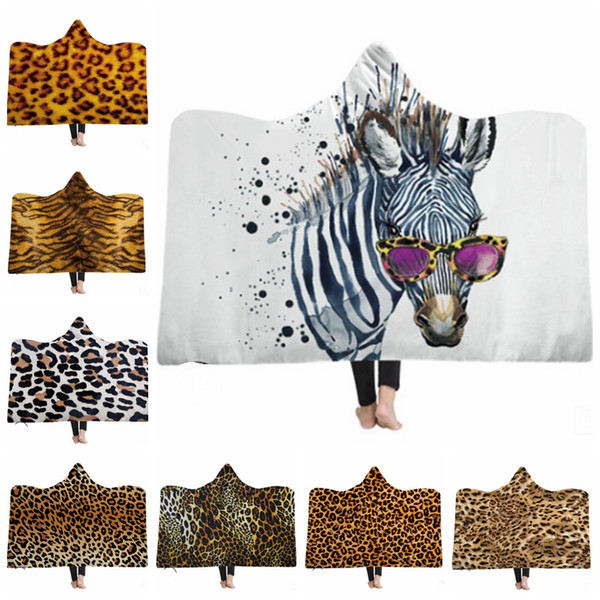 Leopard Hooded Blanket Tiger Pattern Fleece Blankets Kids Throw Blanket Winter Sofa Bedding Supplies Christmas Gift 18 Designs 30pcs LYW1719
