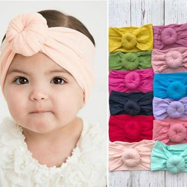 Childrens Pretty Hair Accessoires Cotton Blend Nylon Reborn Turban 24 Colors Infant Girls Cute Round Knot Headbands