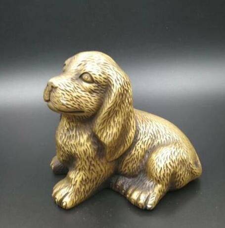Sammlung Chinese Messing-Handarbeit Schnitzen zwölf Tierkreiszeichen Reichtum Hund Tier-Statue
