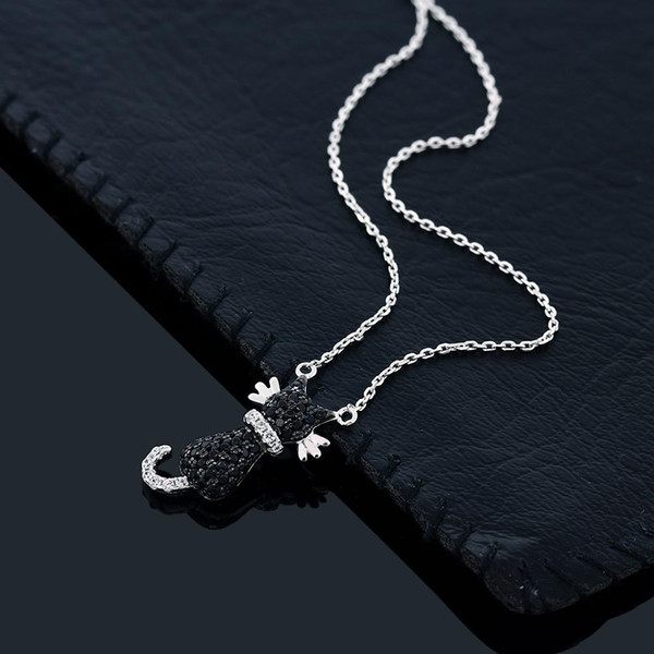 best selling Fashion- 925 Sterling Silver Round Zirconia Black Cat Pendant On 18 Inch 925 Silver Chain