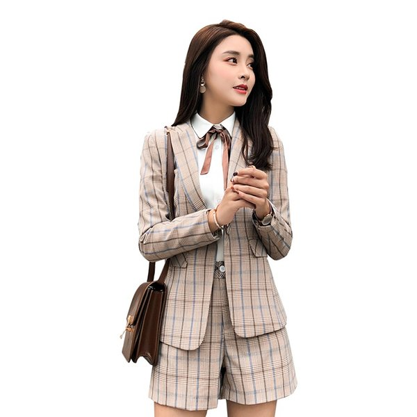 Two pieces pant Suits Ladies Formal Office Casual Style shorts Suits for Women High-quality Apricot Plaid Blazer Set Plus size