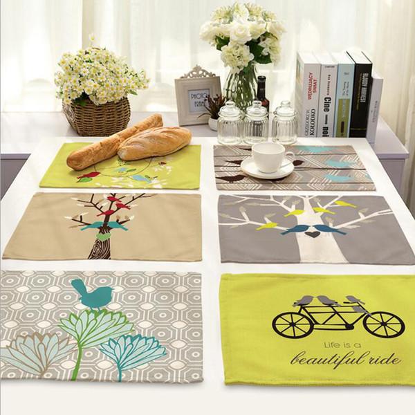 Contract bird placemat Fabric coaster Table decoration mat Kitchen Posavasos Manteles individuales Onderzetters H228