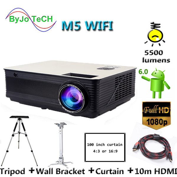best selling Poner Saund M5 WIFI LCD Projector 5500 Lumen Full HD Android 6.0 Double HIFI speakers Add 10m HDMI Tripod 3D Proyector M5W