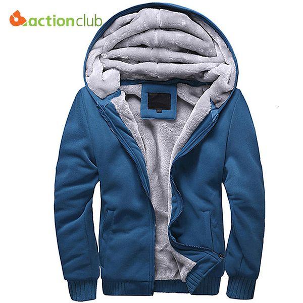 ACTIONCLUB Winter Thicken Hoodie Men Zipper Hooded Coat Mens Tracksuit Sweatshirt Solid Color Thick Warm Plus size HoodiesMX190830