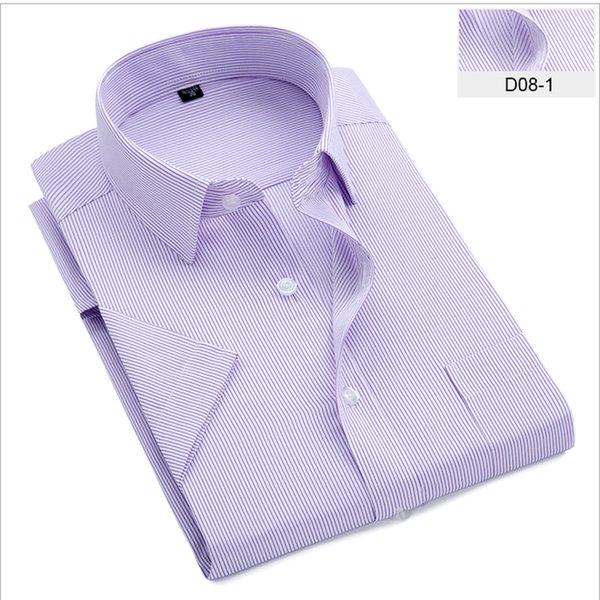 Chemises habillées à rayures Chemise à manches courtes pour hommes Chemise Homme Été Nouvelle Mode Col Carré Chemise Professionnelle Chemise Hommes